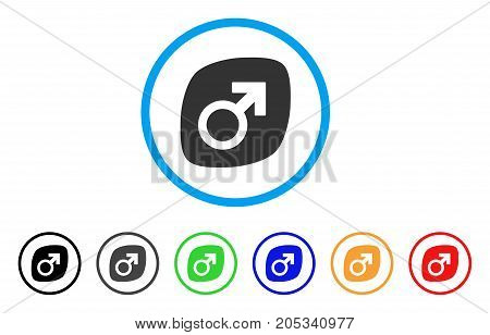 Male Power Tablet rounded icon. Style is a flat male power tablet gray symbol inside light blue circle with black, gray, green, blue, red, orange variants.