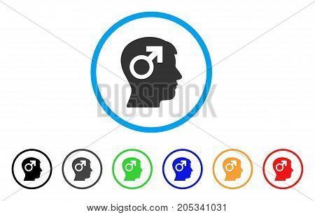 Male Symbol Head rounded icon. Style is a flat male symbol head gray symbol inside light blue circle with black, gray, green, blue, red, orange color versions.
