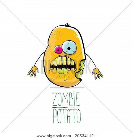 vector funny cartoon cute orange zombie potato character isolated on white background. My name is zombie potato vector concept halloween background. monster vegetable funky character