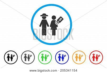 Marriage Of Convenience rounded icon. Style is a flat marriage of convenience grey symbol inside light blue circle with black, gray, green, blue, red, orange variants.