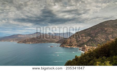 Genoese Tower In The Bay Of Porto In Corsica