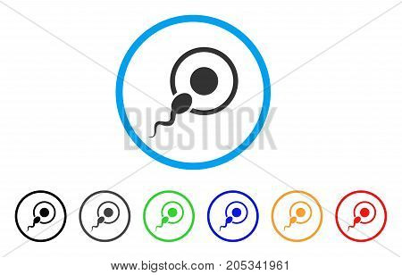 Sperm Insemination rounded icon. Style is a flat sperm insemination grey symbol inside light blue circle with black, gray, green, blue, red, orange variants.