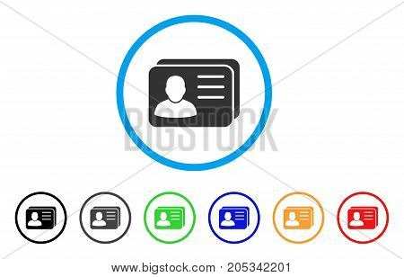Account Cards rounded icon. Style is a flat account cards gray symbol inside light blue circle with black, gray, green, blue, red, orange color versions.