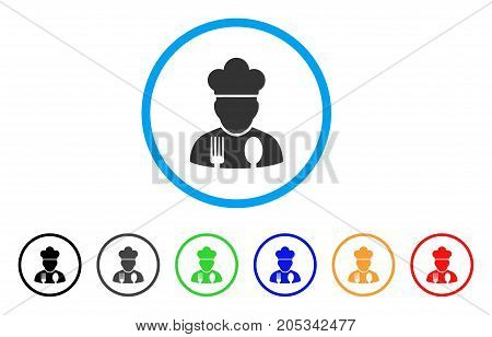 Cook Profession rounded icon. Style is a flat cook profession grey symbol inside light blue circle with black, gray, green, blue, red, orange variants. Vector designed for web and software interfaces.