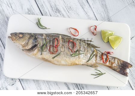 Baked Sea Bass With Lime And Chilli Pepper