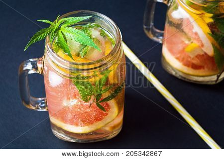 Grapefruit Smoothie With Marijuana Leaves
