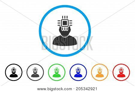 Neuro Interface rounded icon. Style is a flat neuro interface grey symbol inside light blue circle with black, gray, green, blue, red, orange color versions.