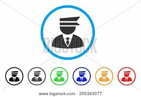 Police Officer rounded icon. Style is a flat police officer gray symbol inside light blue circle with black, gray, green, blue, red, orange variants. Vector designed for web and software interfaces.