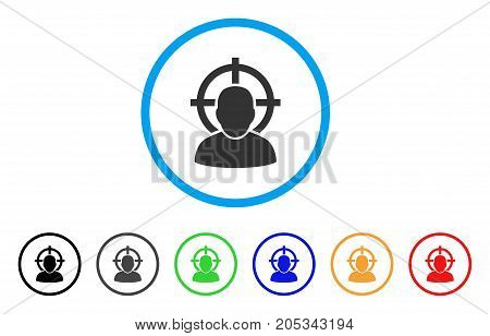 Shoot Person rounded icon. Style is a flat shoot person grey symbol inside light blue circle with black, gray, green, blue, red, orange variants. Vector designed for web and software interfaces.
