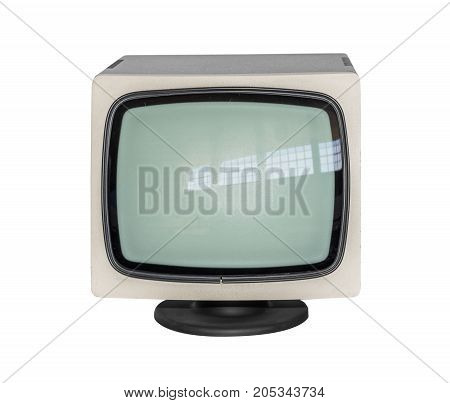 Old monitor or TV isolated on white background.