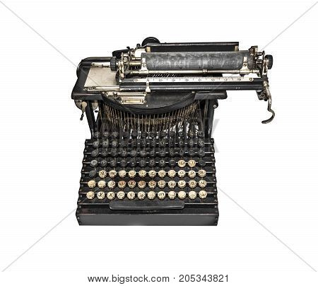 Old typewriter isolated on a white background.