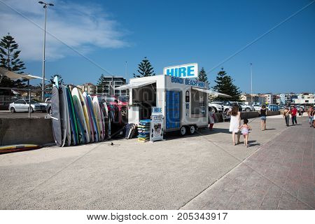 SYDNEY,NSW,AUSTRALIA-NOVEMBER 21,2016: Tourists on the Bondi Beach foreshore with surfboard hire vendor on a sunny day in Sydney, Australia.