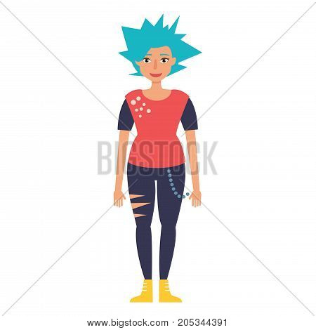 Punk. Vector. Cartoon. Isolated art on white background Flat