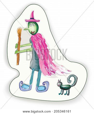 Halloween cartoon Witch and cat character. Vector illustration