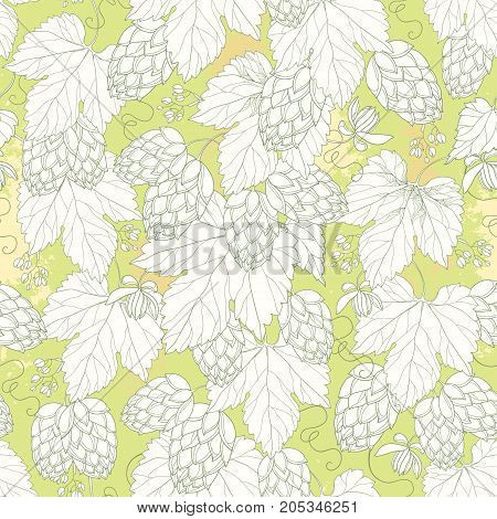 Vector seamless pattern with ornate Hops with leaves in white on the pastel background. Outline Hops for beer and brewery decor. Hops background in contour style for summer design.