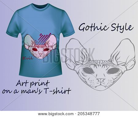 Stylish blue T-shirt with a terrible cat sphinx - gothic style. A cool idea for a stylish print for clothes.