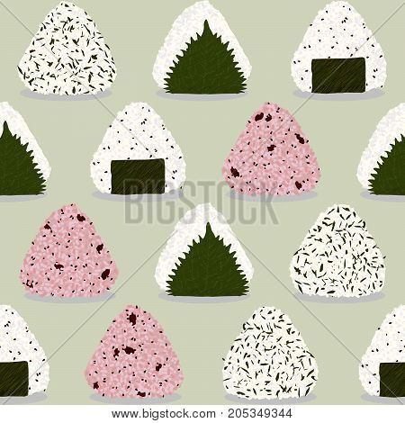 Onigiri pattern. Japanese sticky rice ball. Seamless pattern. Asian snack. Wakame seaweed, perilla leaf (Shiso). Sesame seeds. Adzuki beans (Sekihan). Lunch texture. Illustration.