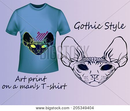 Marketing is a cool idea for printing on T-shirts. Fashion and shopping. Neon Sketch of the Sphinx and Geometry.