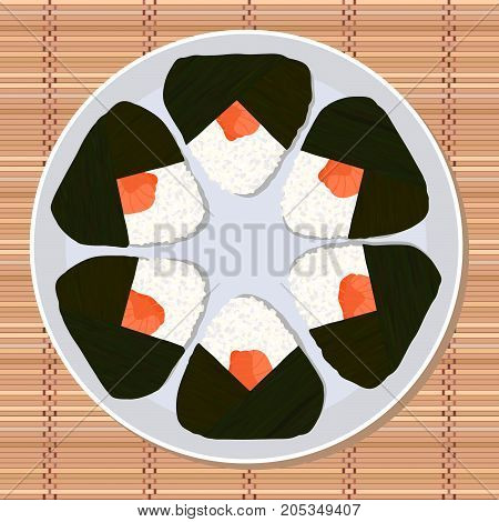 Onigiri (japanese rice ball) filled with salmon. Lunch texture. Japanese cuisine. Lunch Illustration. Asian snack plate on the japanese bamboo mat.