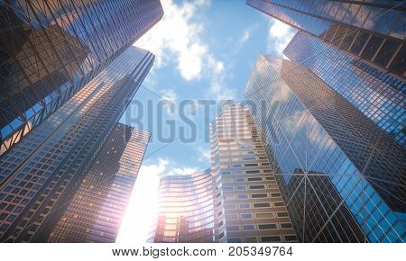 3D illustration. Conceptual image of buildings perspective futuristic vision.