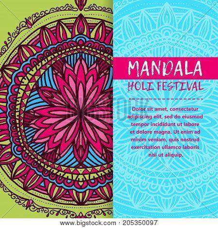 Vector Mandala Holi. Happy Holi Festival Greeting Card Design With Mandala. Oriental Pattern, Vector