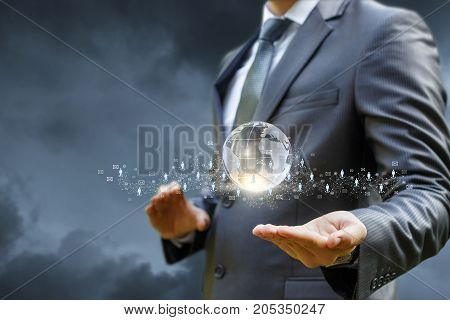 Businessman Showing A Business Network In The Hand .