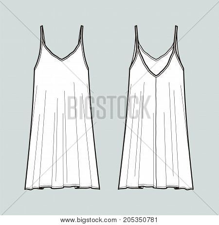 Vector illustration of dress with straps. Front and back. Women's clothes