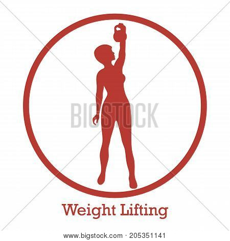 Stylized Icon Of Fitness Sport Athletic Woman Holds Kettlebell. Training Female Body.