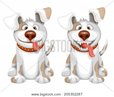 Happy small Dog sitting and smile. Cartoon vector illustration. Isolated on white background.