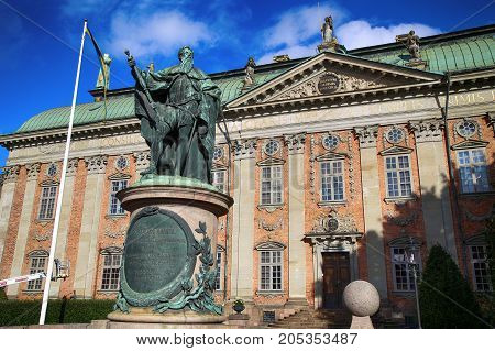 STOCKHOLM SWEDEN - AUGUST 19 2016: View on Statue of Gustavo Erici in front of Riddarhuset (House of Nobility) Riddarhustorget Palace in Stockholm Sweden on August 19 2016.