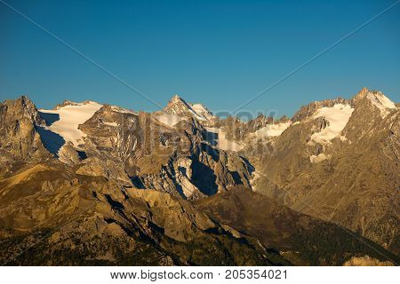 The Majestic Peaks Of The Massif Des Ecrins (4101 M) National Park With The Glaciers, In France. Tel