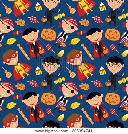 Happy boys in Halloween costumes with sweets seamless pattern. Holidays backdrop with toddlers and candies. Vector background with cartoon characters: vampire wizard pirate and superhero.