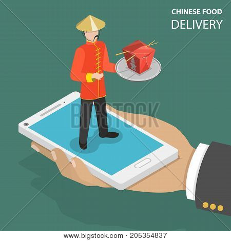Chinese food online order flat isometric low poly vector concept. Hand is holding a phone with a man on it dressed to chinese clothes and holding some chinese dish in cardboard box. Fast delivery.