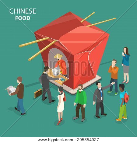Chinese food flat isometric low poly vector concept. People are stand in line for chinese food to the chinese restaurant shown as a cardboard box for chinese dishes. Fast delivery, online order.