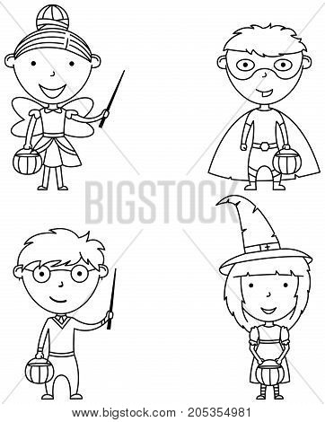 Happy boys and girls in Halloween costumes. Children collect sweets in holidays costumes. Vector set with cartoon characters: wizard fairy witch and superhero.