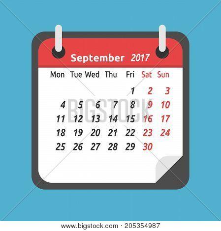 Monthly Calendar, September 2017