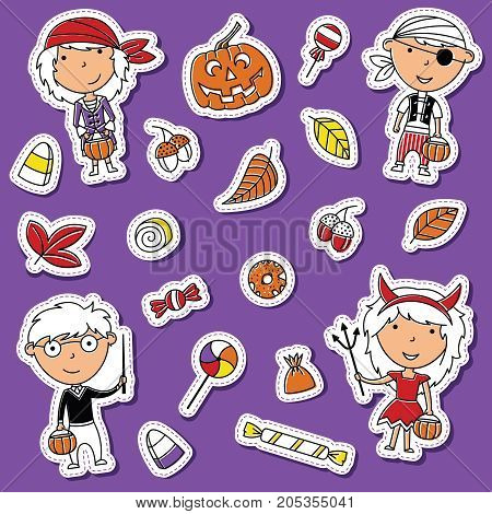 Happy girls and boys in Halloween costumes with sweets. Holiday toddlers and candies sticker set. Collection with cartoon characters: wizard pirate and devil.