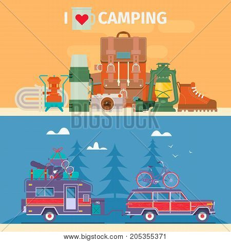 Tourists equipment and travel accessories vector set.Road trip Adventure Trailering Camping concept background. Journey by car.Fans club trailering. Flat vector illustration