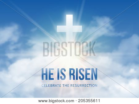 Christian religious design for Easter celebration text He is risen shining Cross and heaven with white clouds. Vector illustration.