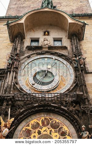 Astronomical clock on the main square in Prague in the Czech Republic. Vertical photo.