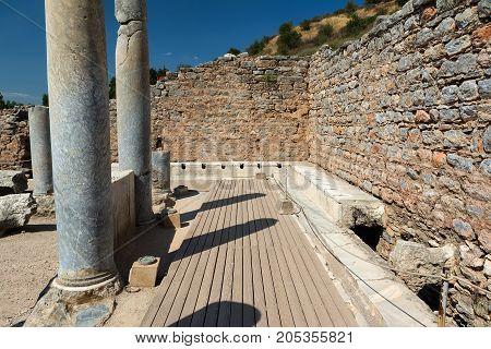 Public Toilets Latrines of Ephesus Ancient City in Izmir, Turkey.