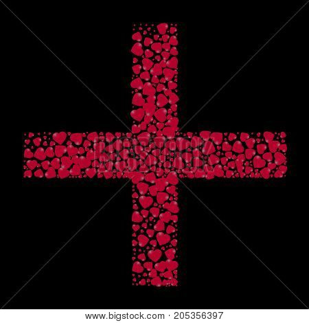 The shape of the cross is filled with small hearts on a black background. Vector illustration.