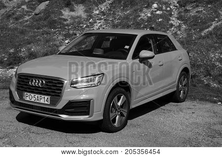 Kranjska Gora, Slovenia - August 11, 2017: Audi A3 4wd parked by the side of the road. Nobody in de vehicle.
