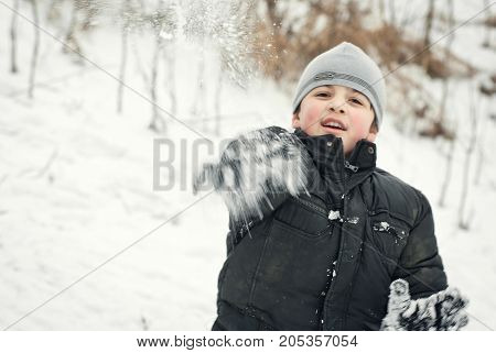The Guys Are Playing In The Snow In The Winter