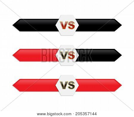 Vector VS icon. Black and red isolated versus logo.