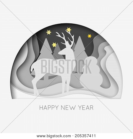 Layered cut out paper Happy New Year postcard with trees, deer, stars. Vector template in carving art style. Eps10.