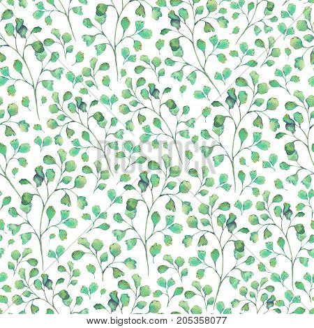 Watercolor vintage seamless natural pattern with tiny green leaves on white background, Botanical leaves illustration