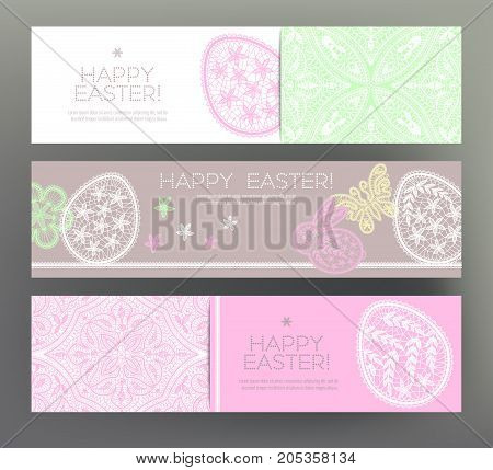 Set of postcard or banner for Happy Easter Day with lace eggs and cute rabbits. Graphically, silhouette drawing. Stock line vector illustration.