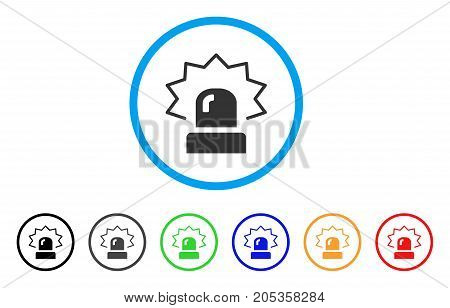 Alarm rounded icon. Style is a flat alarm grey symbol inside light blue circle with black, gray, green, blue, red, orange versions. Vector designed for web and software interfaces.