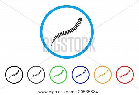 Annelid Worm rounded icon. Style is a flat annelid worm gray symbol inside light blue circle with black, gray, green, blue, red, orange versions. Vector designed for web and software interfaces.